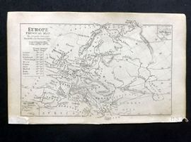 Cornwell & Dower 1849 Antique Map. Europe Physical Map